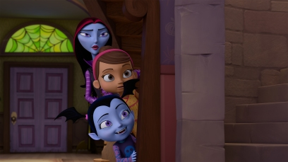 "VAMPIRINA - ""Going Batty"" - Vampirina (aka ""Vee"") is nervous about making new friends after she and her family move from Transylvania to Pennsylvania. This episode of ""Vampirina"" airs Sunday, October 1 (11:00 Ð 11:30 A.M. EDT) on Disney Junior. (Disney Junior) OXANA, POPPY, VAMPIRINA"