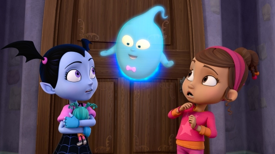 "VAMPIRINA - ""Going Batty"" - Vampirina (aka ""Vee"") is nervous about making new friends after she and her family move from Transylvania to Pennsylvania. This episode of ""Vampirina"" airs Sunday, October 1 (11:00 Ð 11:30 A.M. EDT) on Disney Junior. (Disney Junior) VAMPIRINA, DEMI, POPPY"