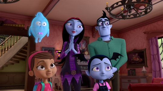 "VAMPIRINA - ""Portrait of a Vampire"" - On Vee's first day of school, she gets frightened during her class photo and leans on her new friend, Poppy, for support. This episode of ""Vampirina"" airs Sunday, October 1 (11:30 Ð12:00P.M. EDT) on Disney Junior. (Disney Junior) DEMI, POPPY, OXANA, VAMPIRINA, BORIS"
