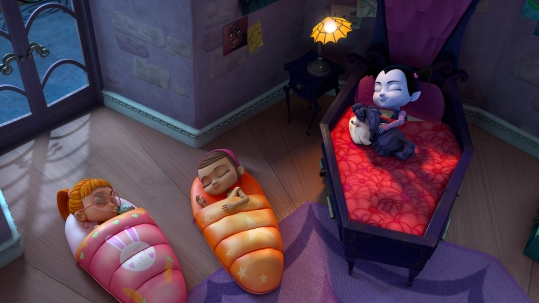 "VAMPIRINA - ""The Sleepover"" - Vee invites her new human friends over for a sleepover. This episode of ""Vampirina"" airs Sunday, October 1 (11:30 Ð12:00P.M. EDT) on Disney Junior. (Disney Junior) BRIDGET, POPPY, WOLFIE, VAMPIRINA"